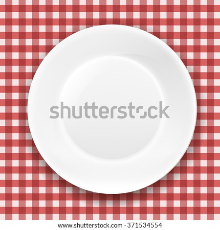 stock-vector-checkered-cloth-and-white-plate-with-gradient-mesh-vector-illustration