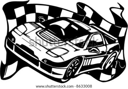 Auto Racing Checkered Flags on Checkered Flag And Street Racing Cars   Series Vector Images  Ready To