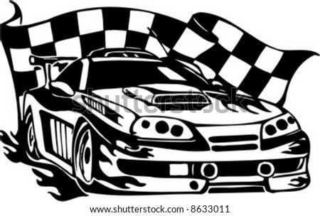 Auto Street Racing Cars on Checkered Flag And Street Racing Cars   Series Vector Images  Ready To