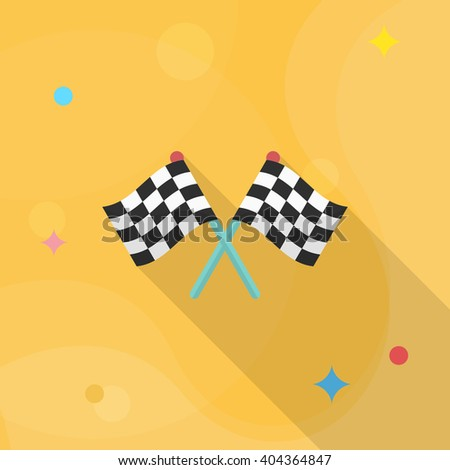 Checkered flag flat  icon with long shadow,eps10