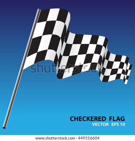 Checkered Flag Fly On Blue Background Vector Illustration ...