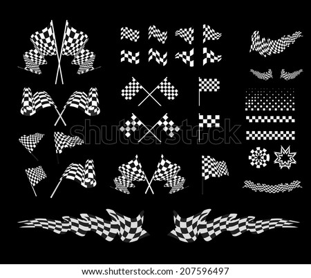 stock-vector-checkered-flag-vector-set-illustration-on-black-background