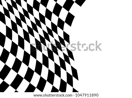 Checkered flag wave on white blank space design for sport championship business background vector illustration.
