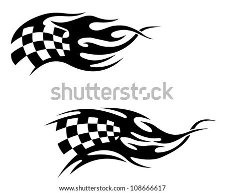 checkered flag with black