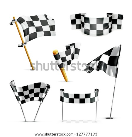 Checkered flags vector set