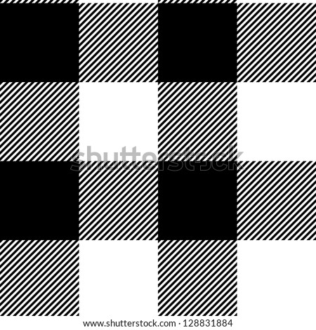 Checkered gingham simple fabric seamless pattern in black and white, vector