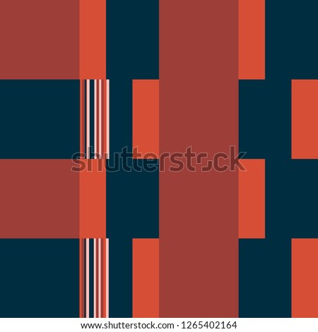 Checkered Pattern. Blocks Background With Stripes. Blue Vector Seamless Checkered Pattern. Rhythmic Layout With Rectangular Shapes. Abstract Geometric Background. Bauhaus Style Design.