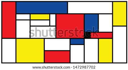 Checkered Piet Mondrian style emulation. The Netherlands art history and Holland painter. Dutch mosaic or checker line pattern banner or card.