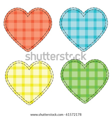 Checkered vector hearts