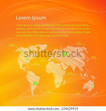 Checkin on The World Map, infographics. Vector Illustration, eps 10, contains transparencies - stock vector