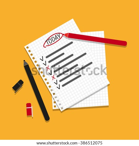 Checking on To Do List. Business Concept. Check The Checklist Cartoon. Top View