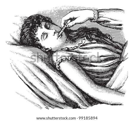 Checking temperature of sick woman / vintage illustration from Die Frau als hausarztin 1911