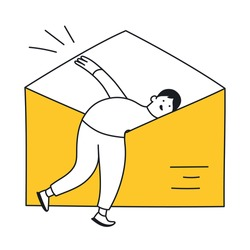 Checking the letter, see what's inside the envelope. Checking the mailbox, content, searching for information in the mail. Thin outline yellow vector illustration on white.