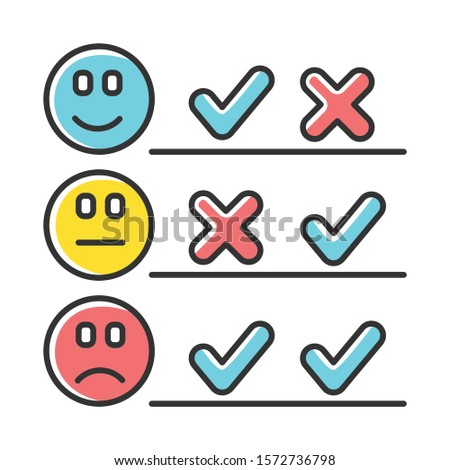 Checklist color icon. Choosing option. Good, bad, neutral experience. Voting. Check list. Agree, disagree. Satisfaction level. Positive, negative. Multiple opinions. Isolated vector illustration