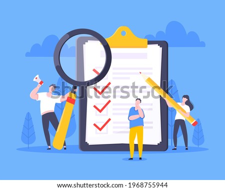 Checklist complete business concept tiny people with pencil, magnifying glass nearby giant clipboard, task done and check mark ticks flat style design vector illustration isolated white background. Foto stock ©