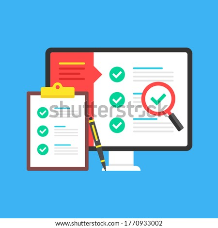 Checklist. Computer with check list on screen and clipboard with checklist and checkboxes with green ticks. Online survey, exam, audit, report, poll concepts. Modern flat design. Vector illustration Stock foto ©