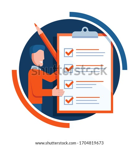 Checklist icon - absctact smiling man holding big completed check list (test, questionnaire, planning) and big pencil - isolated vector creative illustration