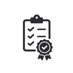 Checklist icon. Certificate icon. Premium quality. Achievement badge. Tasks icon. Clipboard icon. Task done. Signed approved document. Project completed. Quality mark. Quality mark. Check mark
