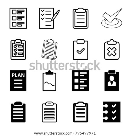Checklist icons. set of 16 editable filled and outline checklist icons such as check list, clipboard, checklist, plan, clipboard with cross, clipboard with chart
