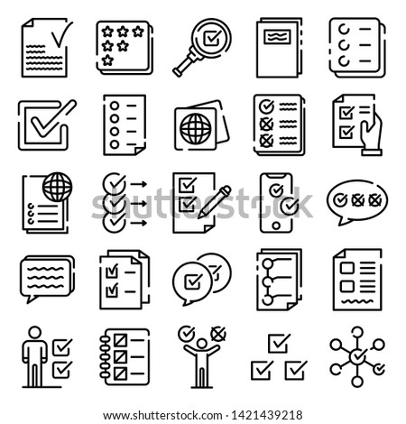 Checklist icons set. Outline set of checklist vector icons for web design isolated on white background