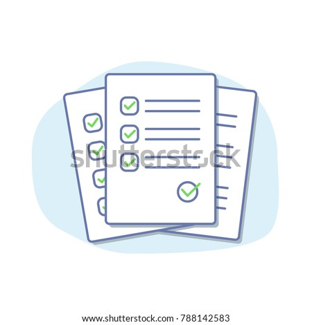Checklist isolated vector illustration. Folder and stack of white papers. Flat line style.