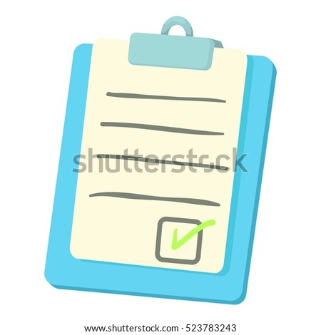 Checklist on a clipboard icon. Cartoon illustration of checklist on a clipboard vector icon for web