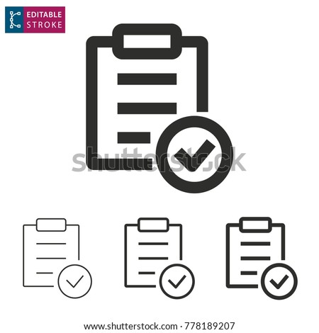 Checklist - outline icon on white background. Editable stroke. Vector illustration #778189207