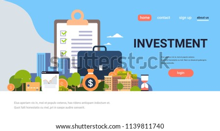 checklist survey investment property business concept money graph buildings finance investments horizontal flat copy space vector illustration