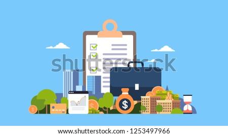 checklist survey investment property business concept money graph buildings finance investments horizontal flat