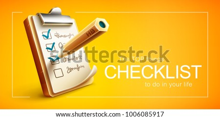Checklist things to do on clipboard with paper sheet and pencil drawing ticks checking selection marks. Eps10 vector illustration.