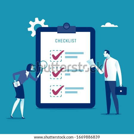 Checklist. Two office workers check the checklist. Vector illustration