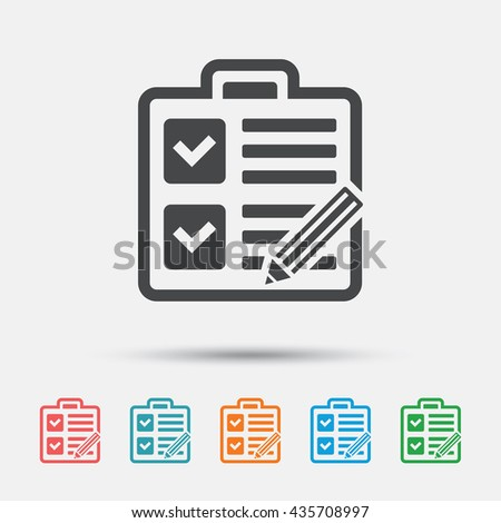 Checklist with pencil sign icon. Control list symbol. Survey poll or questionnaire form. Graphic element on white background. Colour clean flat checklist icons. Vector