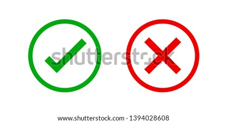 checkmark and x or confirm and deny circle icon button flat for apps and websites symbol, icon checkmark choice, checkbox button for choose, circle answer box for checklist, approval check sign button