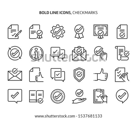 Checkmark bold line icon set. The set is about signature, conversation, security, approval, certificate, certification, mail, achievement, vector, editable stroke, line, outline.