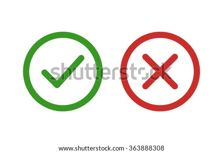 Checkmark / check, x or approve & deny line art vector color icon for apps and websites.