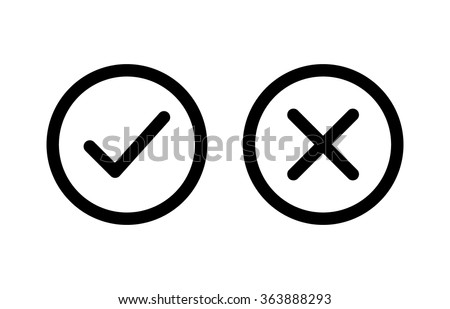 Checkmark / check, x or approve & deny line art vector icon for apps and websites.