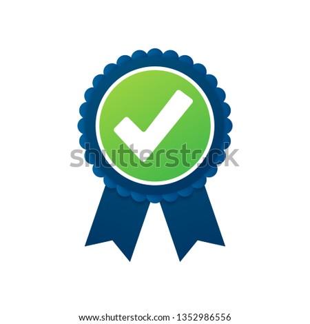 Checkmark. Green approved star sticker on white background. Vector stock illustration.