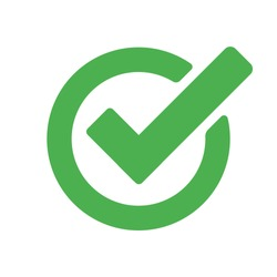 Checkmark green vector isolated icon. Illustration concept of success accepted approve