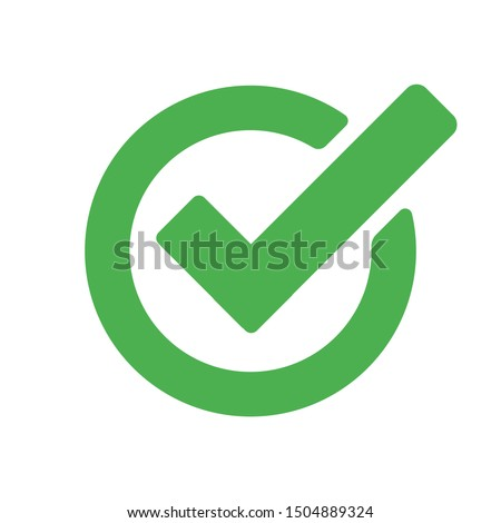 Checkmark green vector isolated icon. Illustration concept of success accepted approve ストックフォト ©