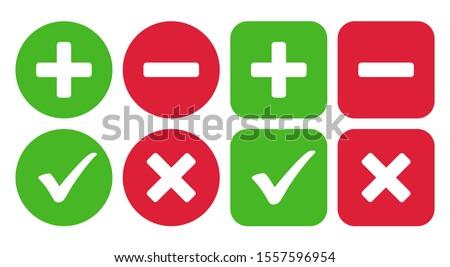 Checkmark icon and plus and minus icon. Vector illustration Stockfoto ©