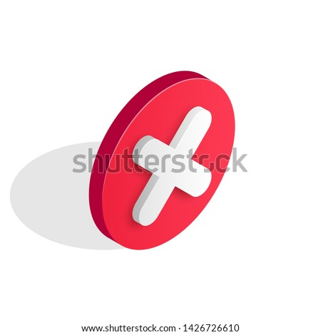 Checkmark isometric icon. Wrong and failed decision, 3d error sign. Red X cross icon isolated on white background. Simple mark graphic flat design. Circle shape NO button. Vector illustration