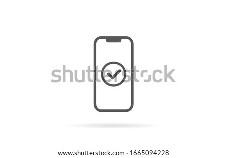 Checkmark on smartphone screen. Green confirmation notification of success finish app update or purchase payment tick on mobile phone holding in hand. Check mark sign vector flat illustration