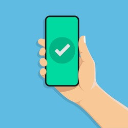 Checkmark on smartphone screen.hand holds a mobile phone.vector illustration isolated on blue background.10 eps.