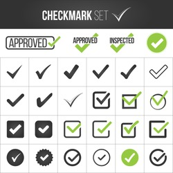 Checkmark or tick mark collection set. Acceptance, approval, right choice, correct selection, true option, positive answer, saying yes, , confirmation concept. Vector illustration isolated on white