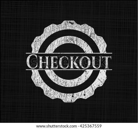 Checkout chalkboard emblem on black board