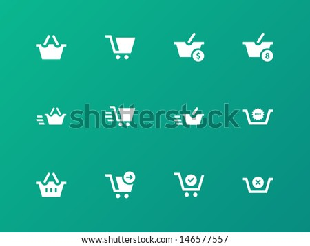 Checkout Icons on green background. Vector illustration.