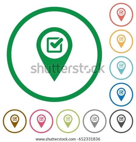 Checkpoint GPS map location flat color icons in round outlines on white background
