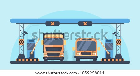 Checkpoint on the toll road. Payment area with transport. Bus and lorry truck on roadway. Vector illustration.