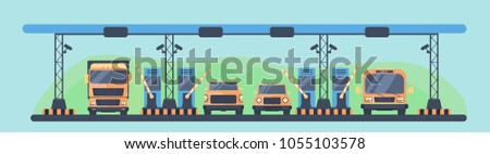 Checkpoint on the toll road. Payment area with transport. Vector illustration.