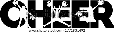 Cheer quotes. Cheeleader silhouette. Pompoms vector ストックフォト ©